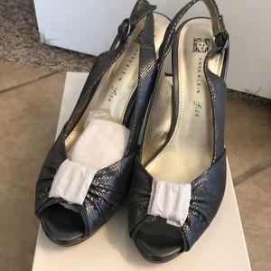 Anne Klein open toed sling back heels